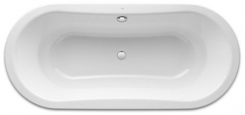 Roca Duo Oval Freestanding Rectangular Steel Bath 1800mm x 800mm 0 Tap Hole White